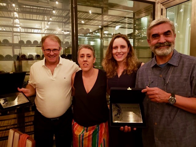 Steve Conroy, Maribel Suarez, Ana Luiza Szuchmacher, Jaime Alonso Gómez (from left to right) - faculty supervisors of team projects this year.  Conroy and Gómez were recognized with plaques