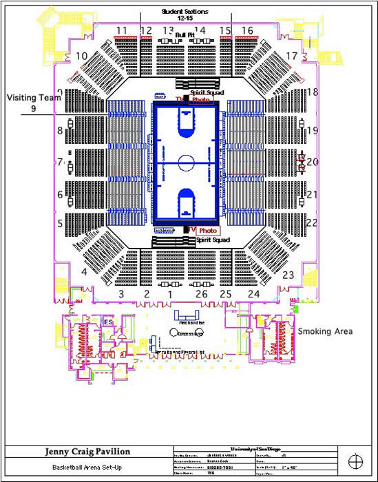 Arena Map Jenny Craig Pavilion University Of San Diego
