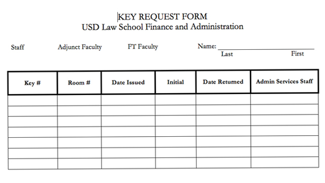 Key Request Process  School Of Law  University Of San Diego