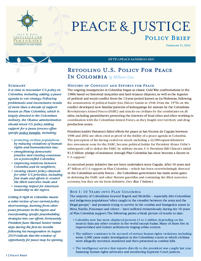 Retooling U.S. Policy for Peace in Colombia