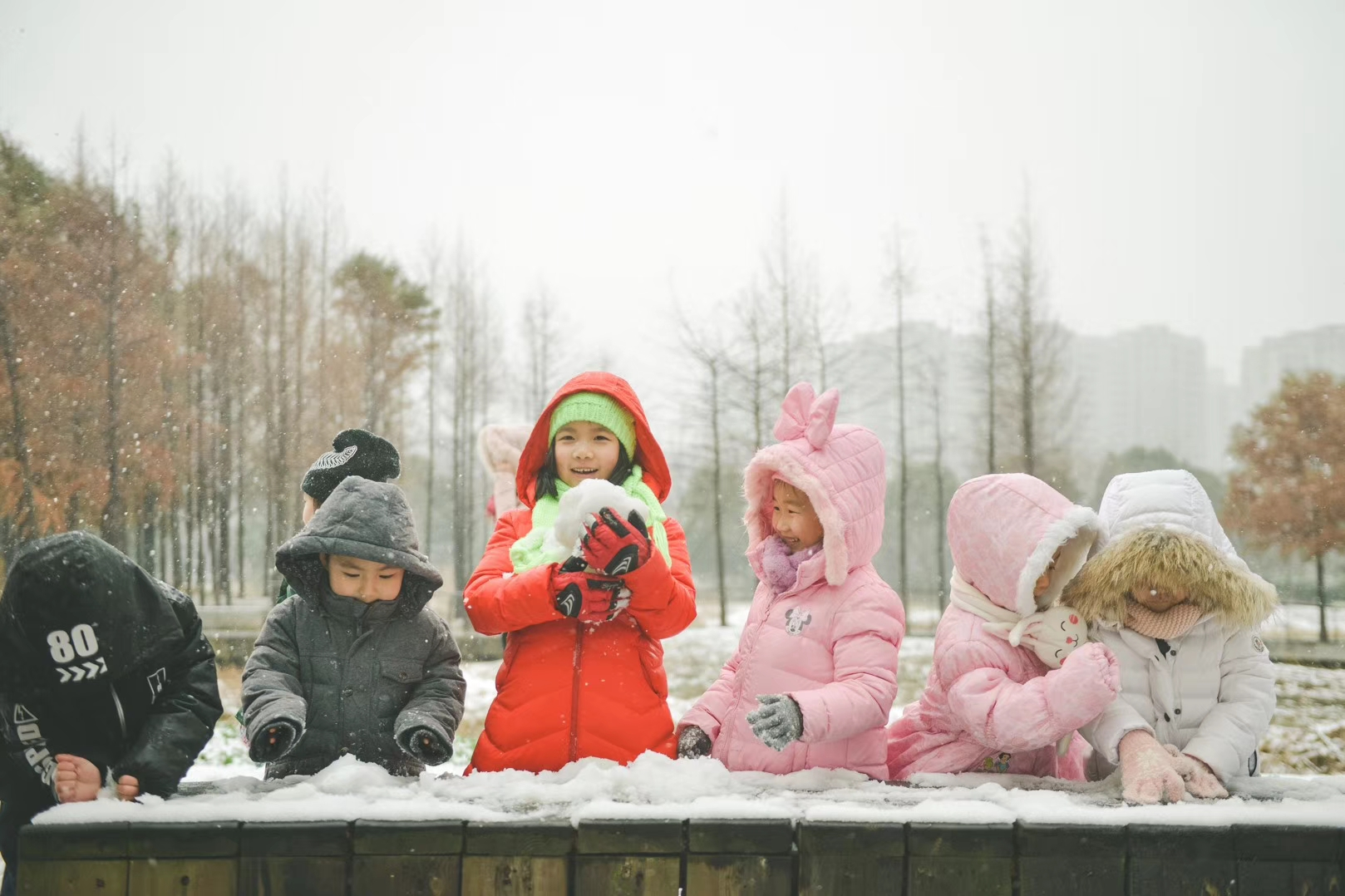Jasmine Williams' students playing in the snow