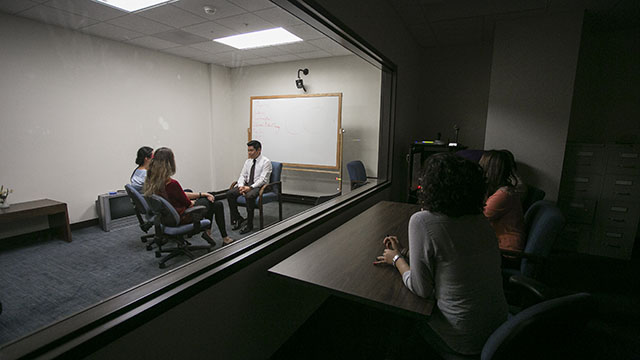 students in a observation room in Mother Rosalie Hall