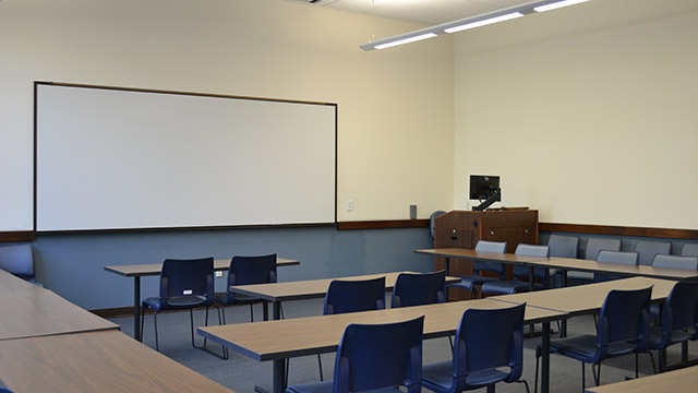 a standard classroom in Mother Rosalie Hall