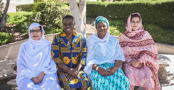 The 2016 Women PeaceMakers, left to right: Fatma Mehdi Hassam (Western Sahara), Jane Anyango (Kenya), Hamsatu Allamin (Nigeria) and Khurshid Bano (Pakistan).