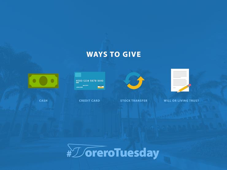 #ToreroTuesday Ways to Give