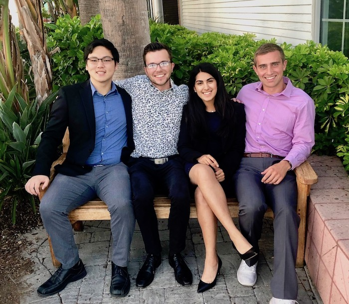From left to right: Curtis Chan, Lukas (Jack) Foy, Simran Vakil, Kyle Rutherford