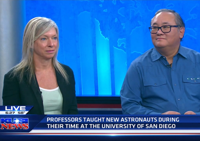 Diane Hoffoss, professor of mathematics and Ernie Kim, professor of electrical engineering