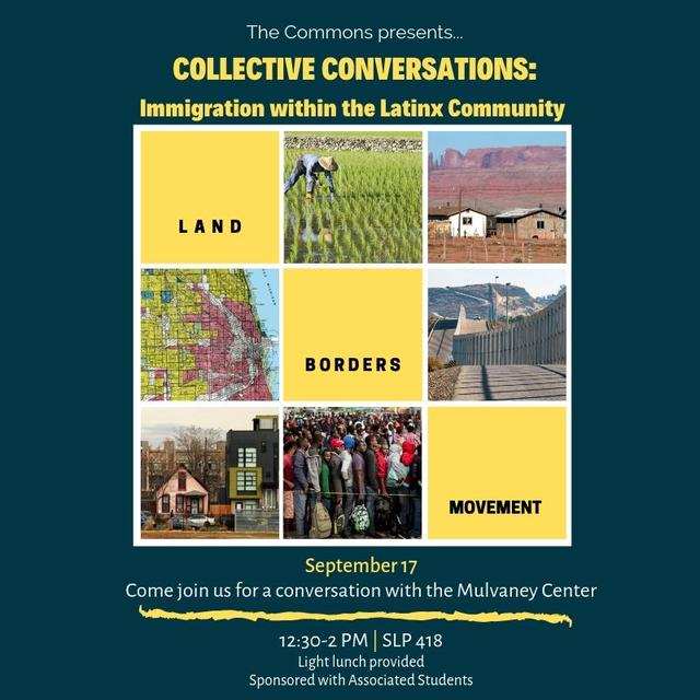 Flyer for Collective Conversations which includes the theme land, borders and movement.