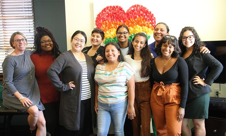 Members of the USD Womxn of Color Summit Committee prepare final details for the Oct. 12 day-long event.