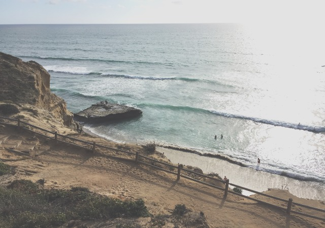 San Diego cliff next to the ocean where swimmers are playing
