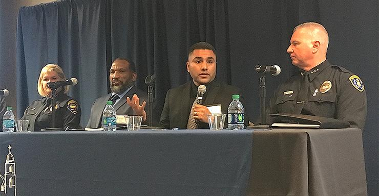 Pastor Jesus Sandoval speaks during a panel discussion during the Building Trust Partnership launch event at USD's Kroc IPJ on Jan. 31.