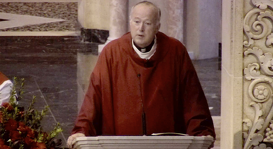 San Diego Catholic Diocese Bishop Robert McElroy speaks during USD traditional Mass of the Holy Spirit at The Immaculata. Mass was live-streamed.