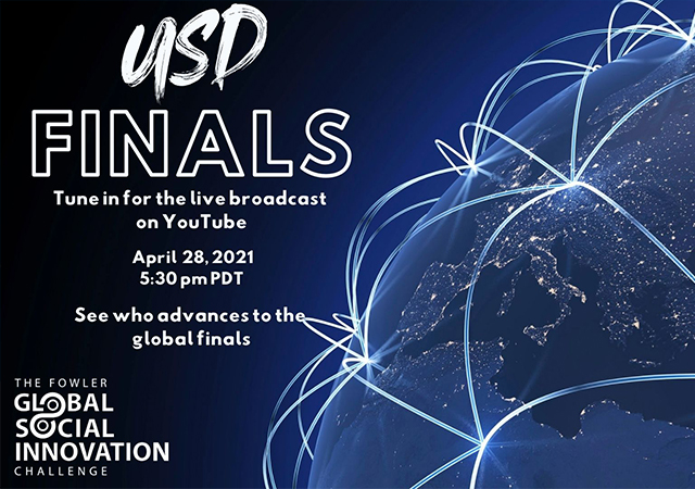 Flyer with the Fowler GSIC logo and the information for the USD Finals event which will be broadcast on YouTube on 4/28 at 5:30 p.m. and will determine who will go to the global finals.