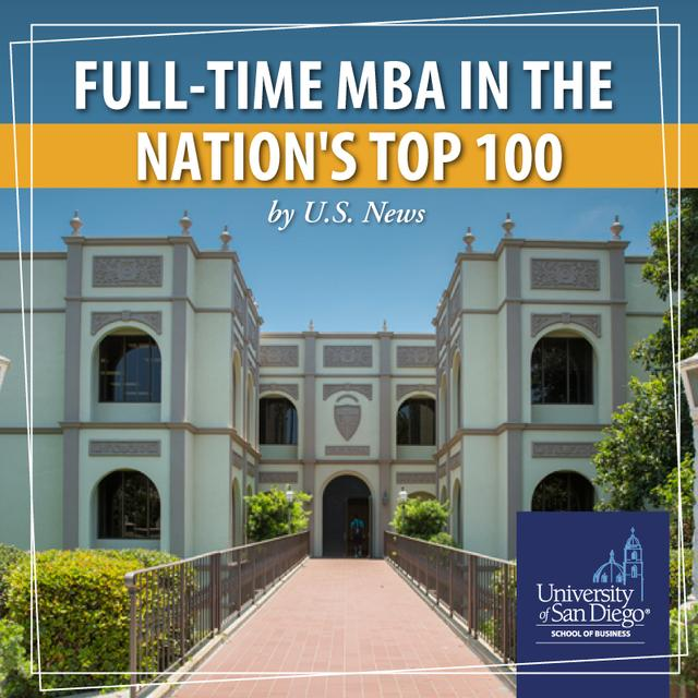 USD School of Business full-time MBA ranked in the nation's top 100