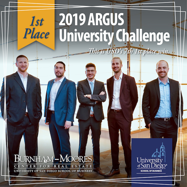 USD School of Business team takes first place in 2019 ARGUS Competition team (Left to right): Shane Isdaner '20, Ted Kavich '19, Johannes Hummel '19, Alexander Dow '19, Tyler Jenkins '19
