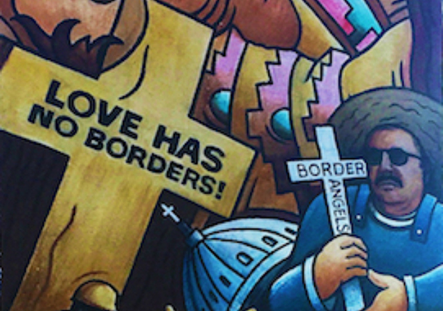 "Chicano Park Mural with crosses stating ""Love Has No Borders"""