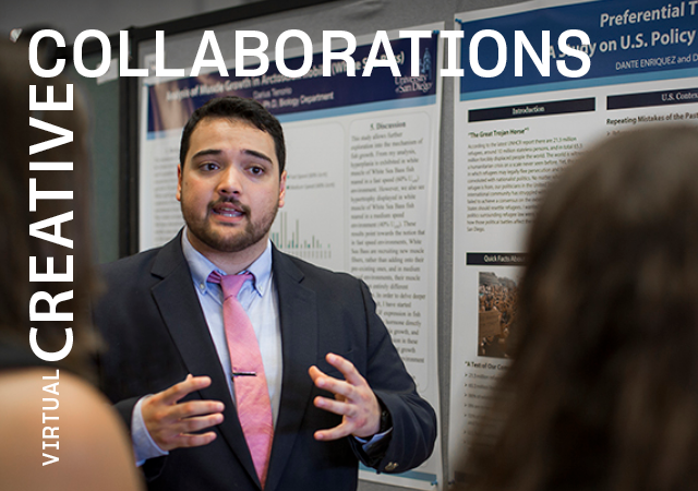 Student presenting research to two people