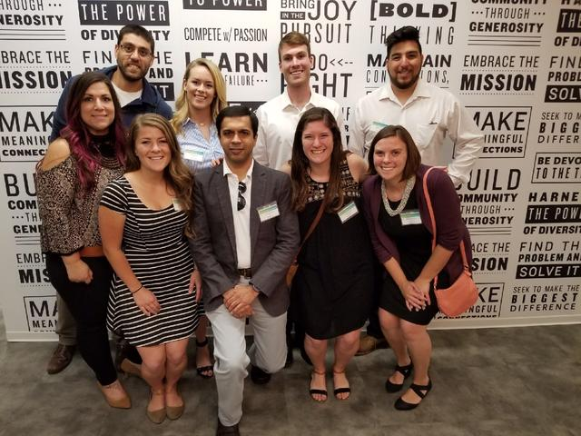 USD Global Social Innovation Challenge participants and staff pitching and supporting at Booz Allen's annual Ideas Festival.