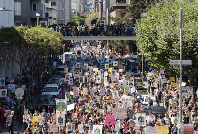 Photo of a climate rally in San Francisco last year. Photo by James Tensuan for The New York Times