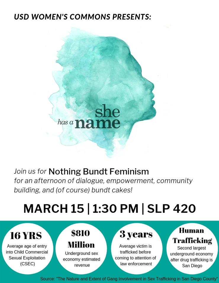 She Has a Name: Join us for an afternoon of dialogue and community building. Mar 15 at 1:30pm, SLP 420; human trafficking statistics
