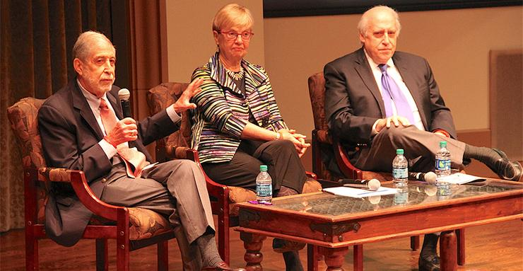 Former Congressmen Mickey Edwards, far left, and Dan Glickman, and National Institute for Civil Discourse Executive Director Carolyn Lukensmeyer, discuss rebuilding civility in a divided nation.