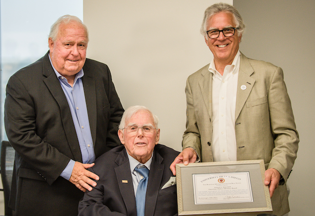 Photo of Mark Riedy, PhD, Dan Mulvihill and Stath Karras at the June 4, 2019 Emeritus PAB Meeting