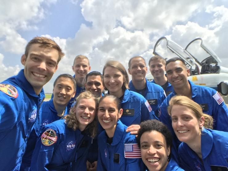University of San Diego alumni Jonny Kim  '12 (pictured second from left) and Matthew Dominick '05 (pictured third from right, back) join the 2017 NASA astronaut class.