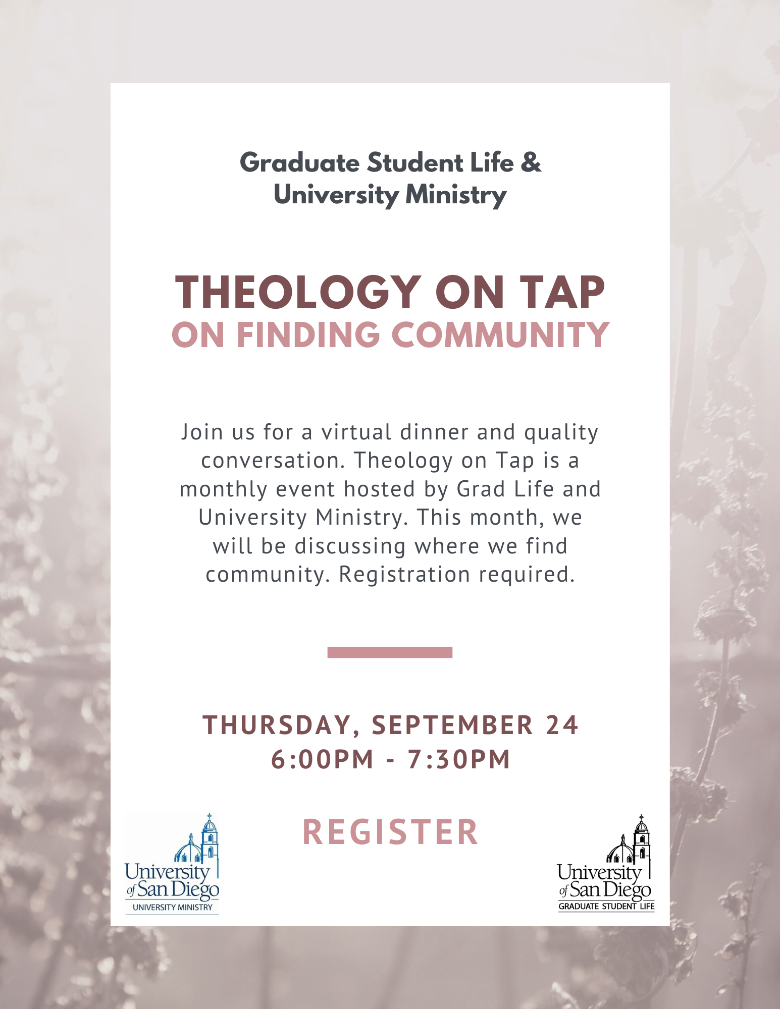Theology on Tap Flyer, pale pink background with white box with text in black and dark pale pink