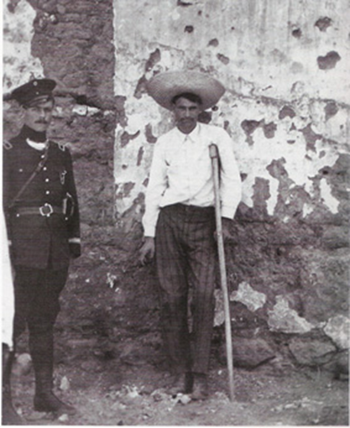 A wounded soldier faces the firing squad