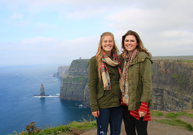 USD students stand on the cliffs of Moher in Ireland