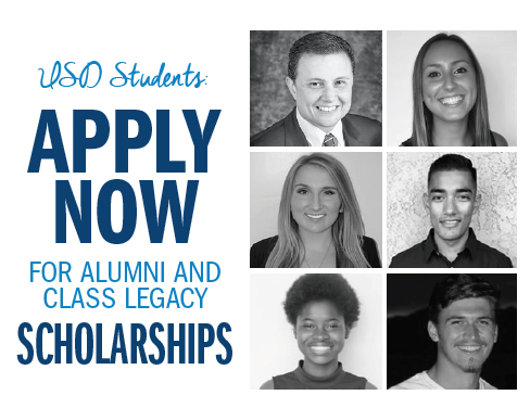 Applications are being accepted now through Feb. 25, 2019, for alumni and legacy scholarships offered at the University of San Diego.