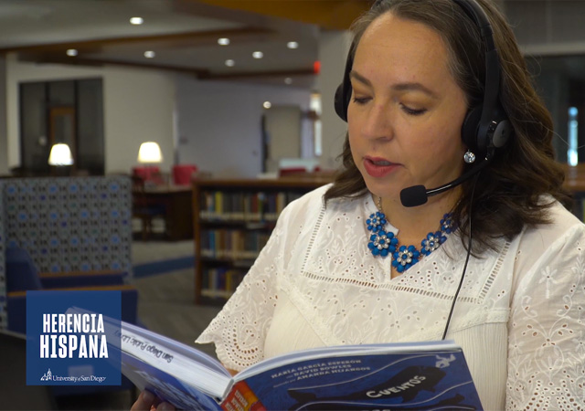 Image of Claudia Iracema Gonzales reading a book for the Tiny Toreros Story Time podcast