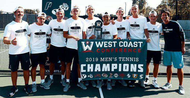 The USD men's tennis team captured its sixth consecutive West Coast Conference Tournament title on Saturday afternoon in Claremont, Calif. The Toreros defeated Santa Clara, 4-1, in the title match.