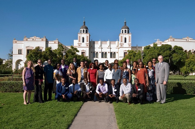 President Harris with Mandela Fellows
