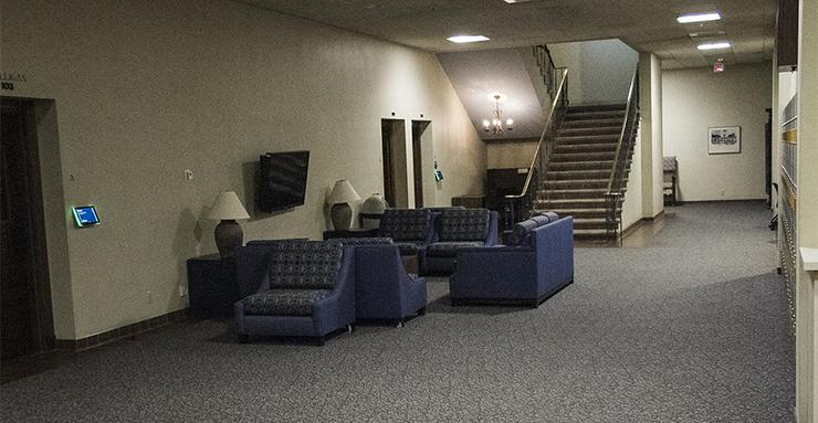 The first floor foyer of the Hahn University Center will get a bright renovation in August 2019. The new look will ultimately make the area more inviting for students who use it as a study space.