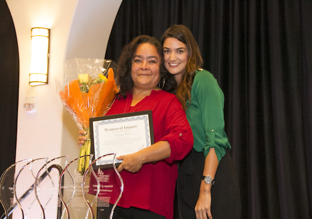Tomasa Ruiz with Maria Silva and WOI Award