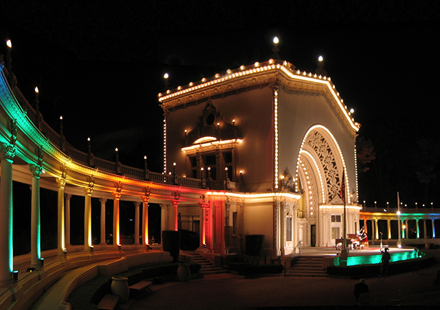 Spreckels Organ Pavillion Lit at Night