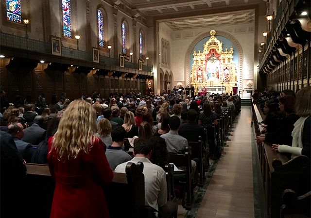 Mid-Year Graduates Mass celebrates January graduates who are finishing their academic requirements. Mass is held in Founders Chapel and a reception follows in Founders Hall Foyer and French Parlor.
