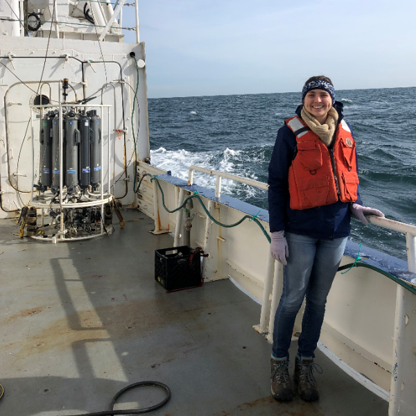 Diane on the R/V Endeavor during cruise in winter 2019.