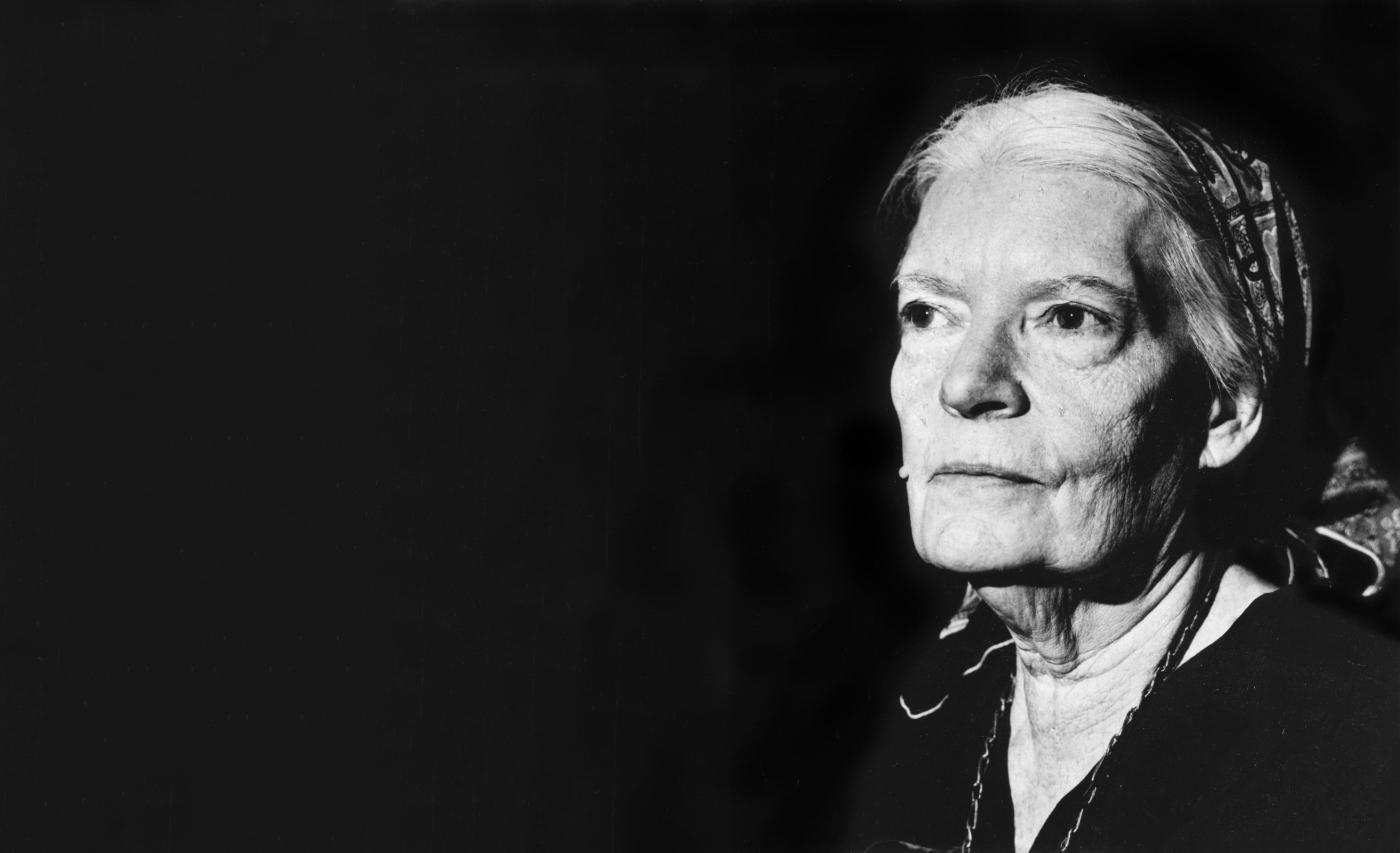 Black and white profile image of Dorothy Day