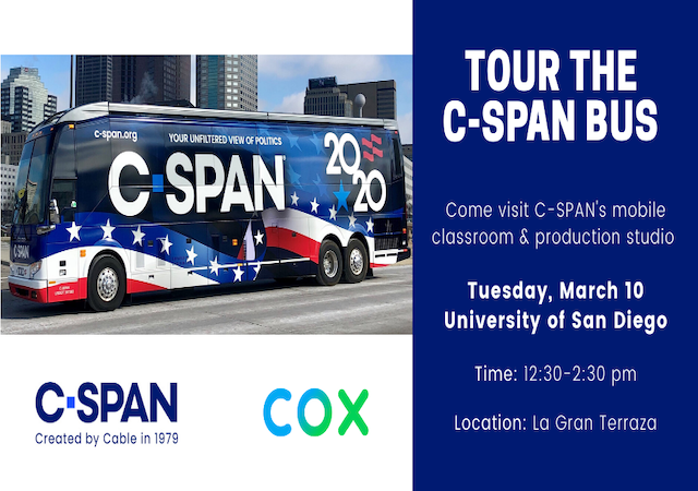 C-SPAN bus in downtown San Diego