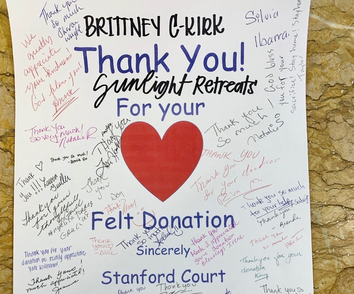Thank you note to Brittany Kirk from medical facility, Stanford Court