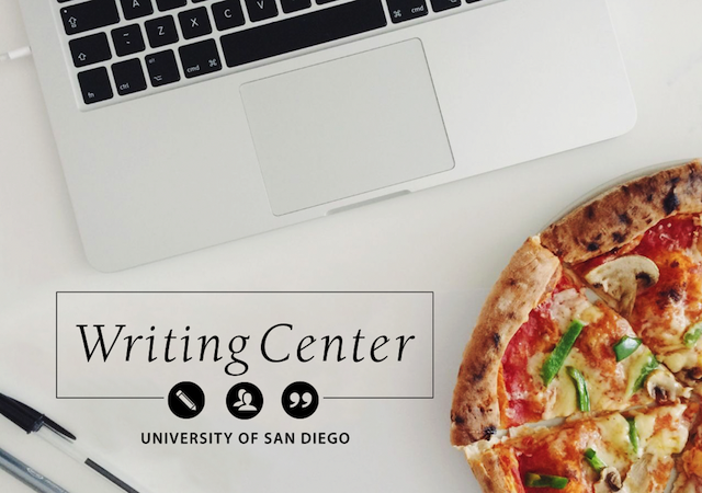 Laptop, pens, pizza, and that reads Writing Center, University of San Diego