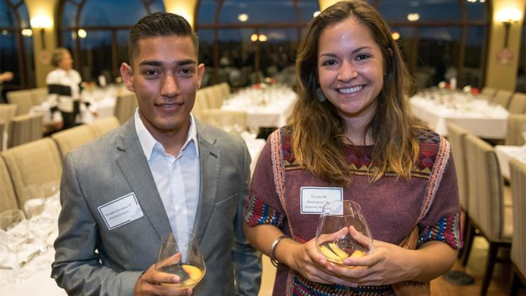 Inaugural recipients of the USD Comité México Scholarship, Eduardo Cervantes and Claudia Dominguez, were feted at Comité México's annual Mexican Wine Pairing Dinner at La Gran Terraza on Oct. 26.