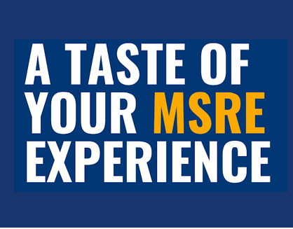 Image is of a photo of the flyer promoting the Taste of Your MSRE Experience Event