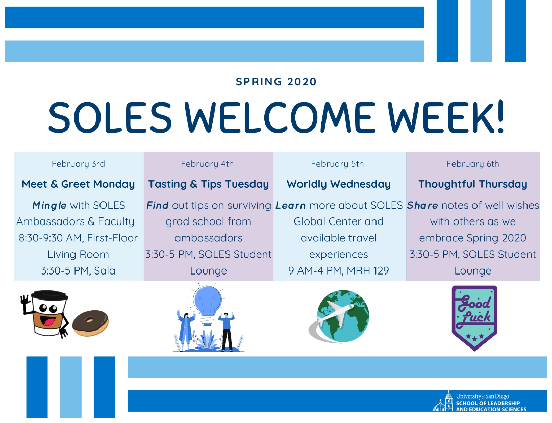 SOLES Spring 2020 Welcome Week Flyer
