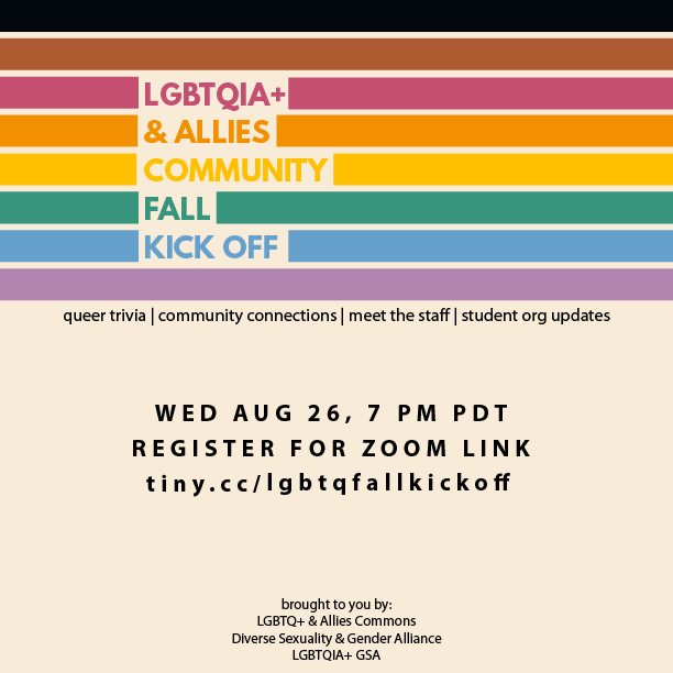 "Flyer reads ""LGBTQIA+ & Allies Community Fall Kick Off"" with link to register"