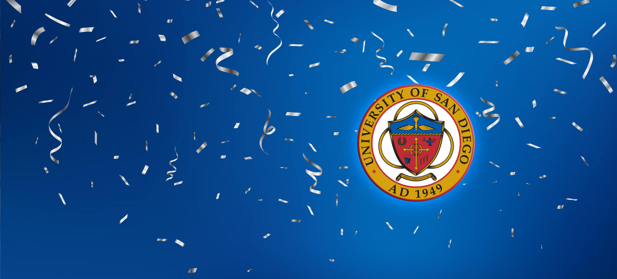 University logo with silver streamers