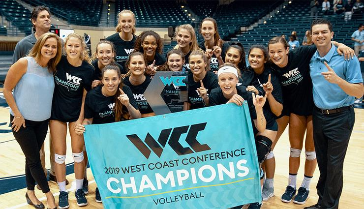 The USD women's volleyball team celebrated Nov. 23 after its win against Portland gave the program a share of the WCC title with one match to play this Tuesday.