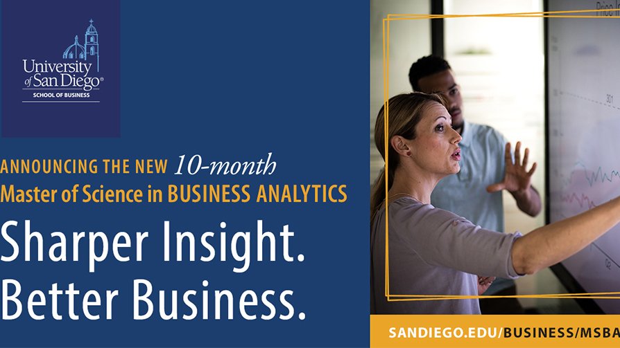 Flyer announcing USD's new Master's in Business Analytics degree